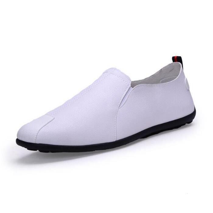 jaune Hommes Printemps Ete Chaussures blanc Noir Cuir Wys Mocassins xz079blanc44 Plat qTzdwxwZ