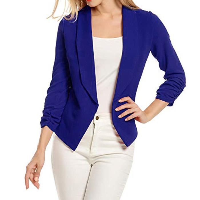 8c36dd13d4046 Blazer à manches 3-4 pour femmes Gilet de costume court devant veste ...