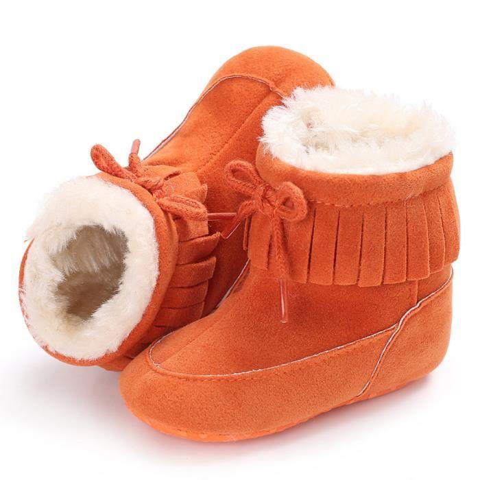 Bottes de neige de bébé Soft Sole Bottes de berceaux souples Bottes de tout-petit orange an06W