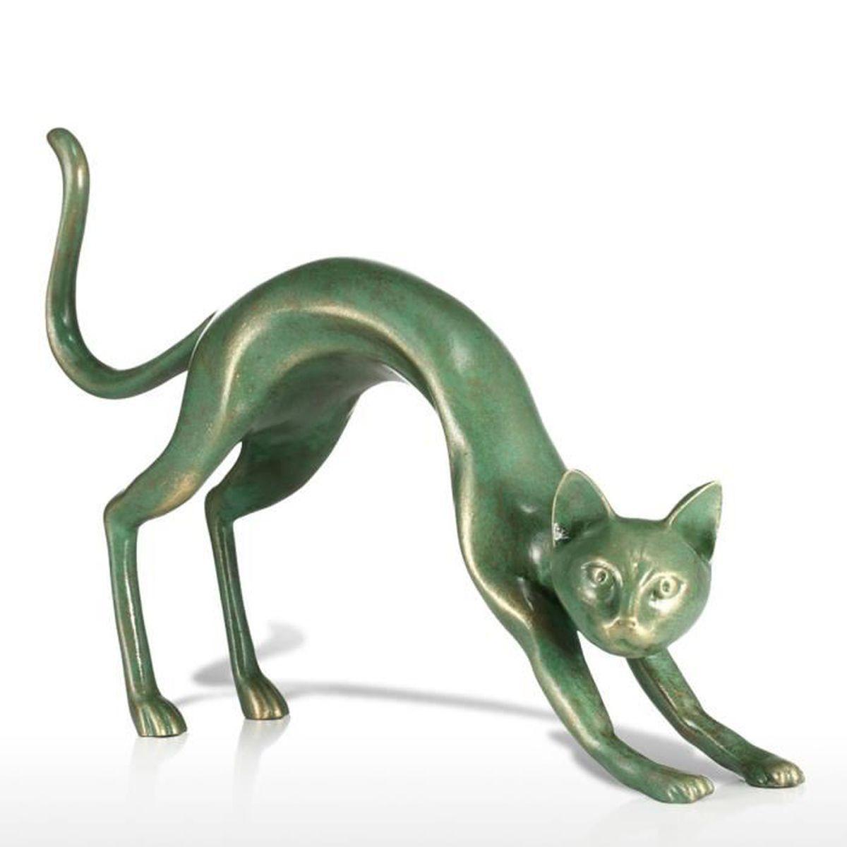 STATUE   STATUETTE Tomfeel Étirage Sculpture Chat Fibre De Verre Déco ...