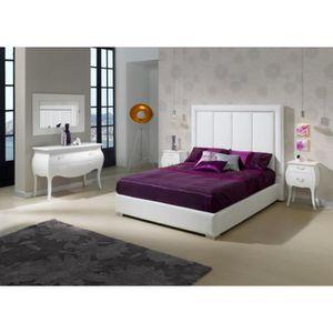 STRUCTURE DE LIT Lit CERVI 160x200cm en PU blanc - L 200 x l 160 x