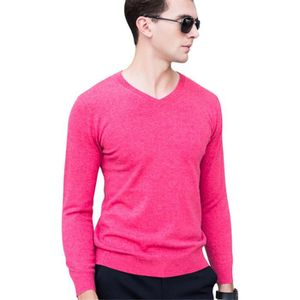 64c6e544b02 Pull-over Homme Tricot Sous-pull Col V Laine Léger Rouge clair L ...