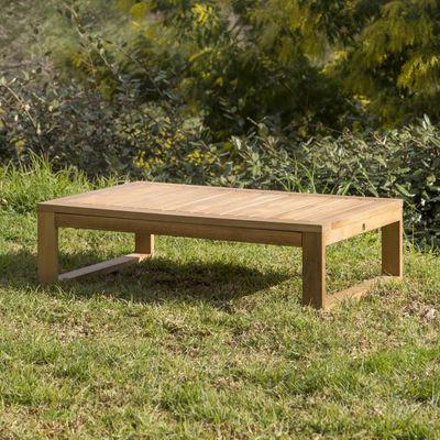 Table basse de jardin en Acacia rectangulaire 90x60cm couleur teck ...