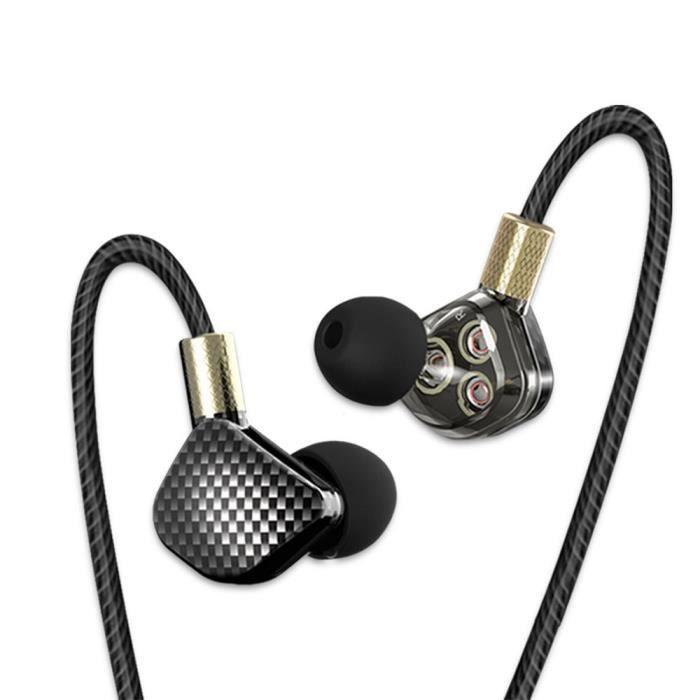 Sltcrpasion 3.5mm Dans L'oreille Stéréo Basse Hifi Triple Dynamique Écouteur De Sport Avec Microphone Kd6