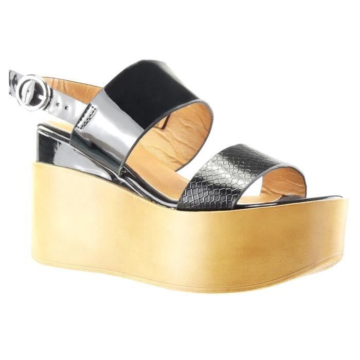 Angkorly - Chaussure Mode Sandale Mule plateforme femme peau de serpent lanière brillant Talon compensé plateforme 9 CM - Noir - 7v0zIJ