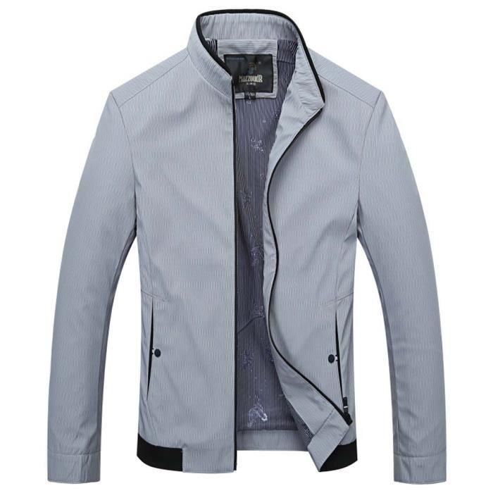 blouson l ger homme printemps casual veste col montant mode v tement zip e gris clair achat. Black Bedroom Furniture Sets. Home Design Ideas