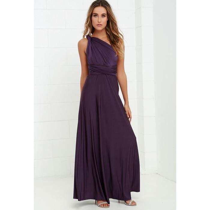 6435f43b14b Robe de soirée cocktail robe de plage femme haute taille sexy longue  élégante moderne multi - fonction violet