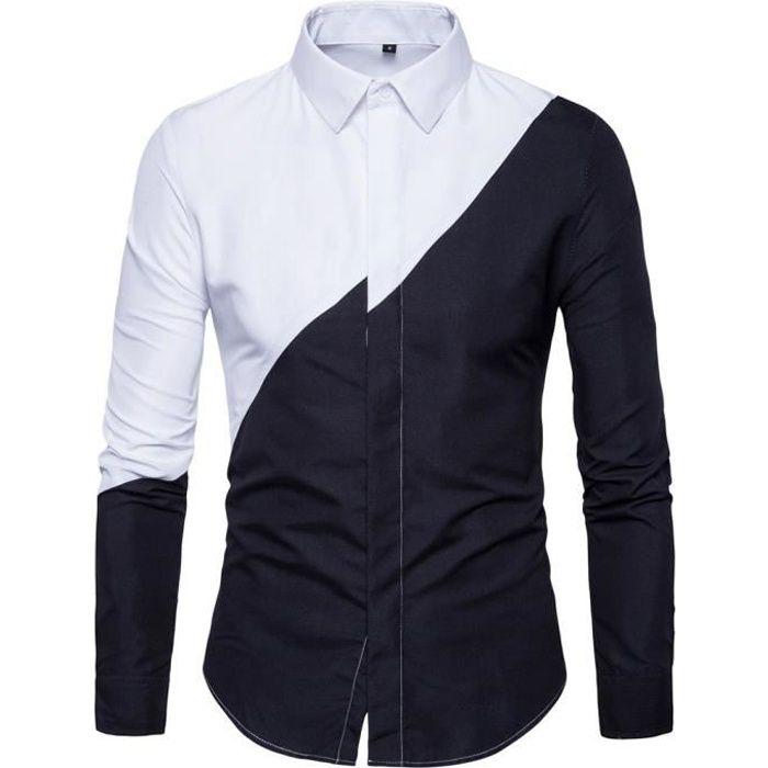 Homme Cotton et à noir Chemise blanc bicolore Chemise de Ville fUg06wn