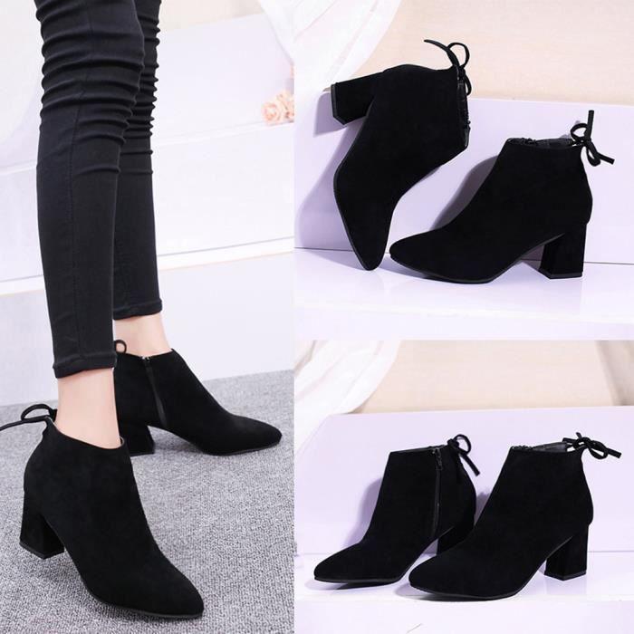 Napoulen®Mode Femmes sandales carré lacets bottines Martin talons haute plate-forme Noir-XPP71012382BK