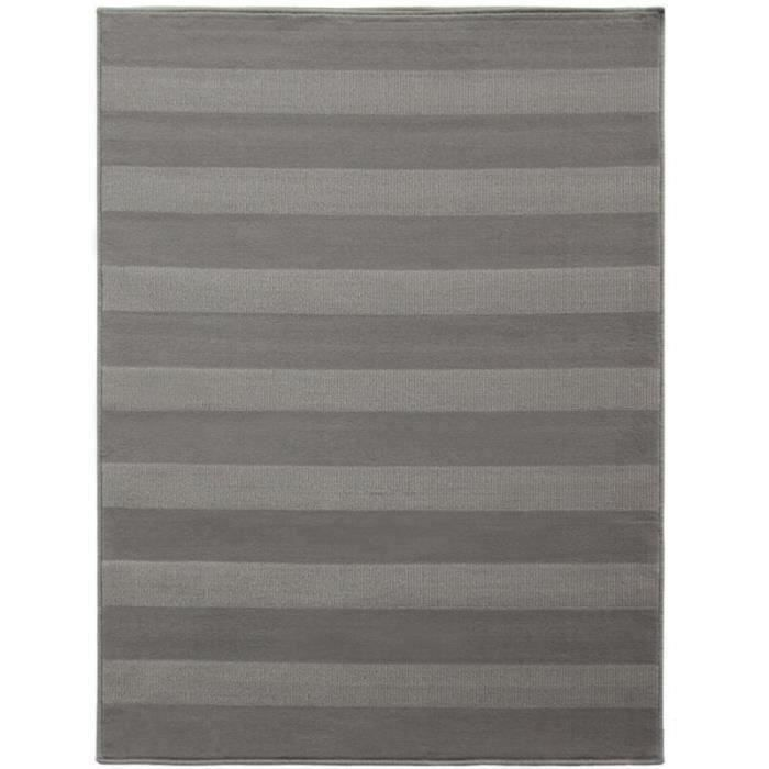 Tapis Scandinave Oslo Rayure Gris Taupe Taillesdisponibles 120 X
