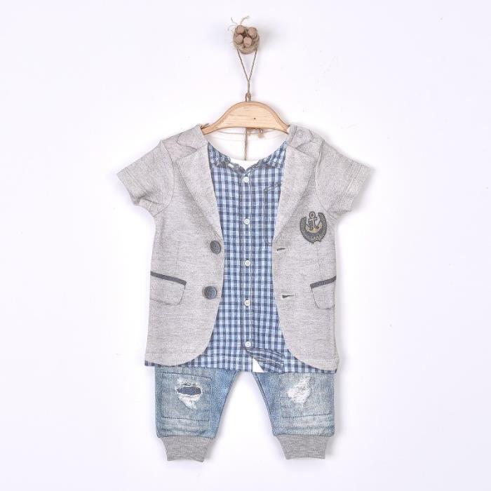 2b27e14d3da17 Ensemble bébé garçon 2 pièces t-shirt et pantalon en coton biologique de 1  mois à 18 mois - Impression 3D - Collection Victor 1-3M