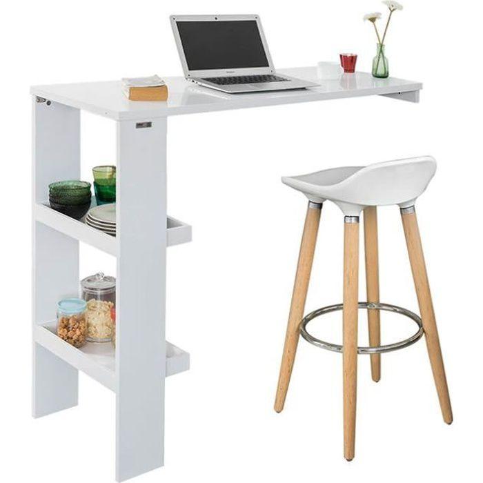 SoBuy® FWT55-W Table de Bar Murale Table Haute de Bar Mange-Debout Cuisine avec 2 étagères de ...