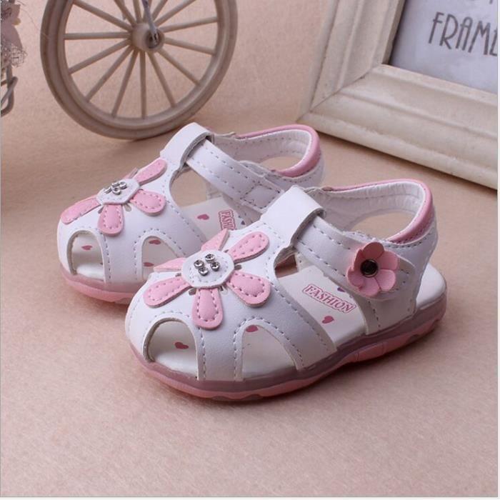 Chaussures Émettant Bébé Blanc Pour Fille Souple 19 Sandales Enfants Fond ucTF3lK1J