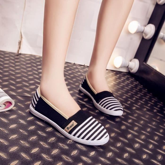 Mode féminine été respirables Chaussures de toile Slip-On Chaussures plates pour les femmes,noir,36