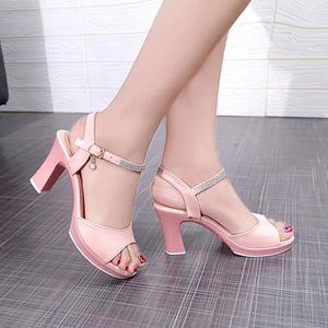 62d037682 Boucle de femmes Chaussures ouvertes devant Talons hauts talons épais  sandales sauvages strass perles 35 Rose