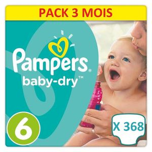 COUCHE 368 COUCHES PAMPERS BABY DRY TAILLE 6. FORMAT ECON