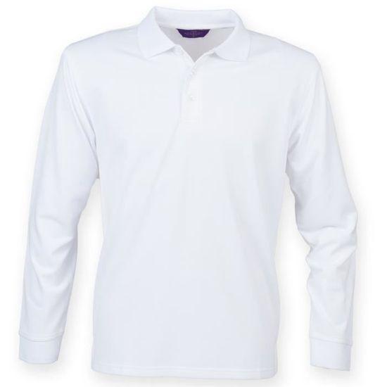 048718dec5 Henbury - Polo à manches longues - Homme Blanc Blanc - Achat / Vente ...