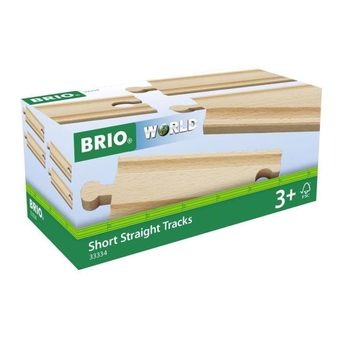 BRIO World - 33334 - Rails Courts Droits - 108 mm - Jouet en bois