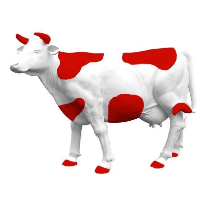 statue sculpture vache xxl colori taches rouge 220 cm geante neuf achat vente statue. Black Bedroom Furniture Sets. Home Design Ideas