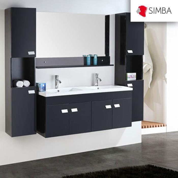 Meuble salle de bain 120 cm noir set colonne vasque for Colonne salle de bain 120 cm