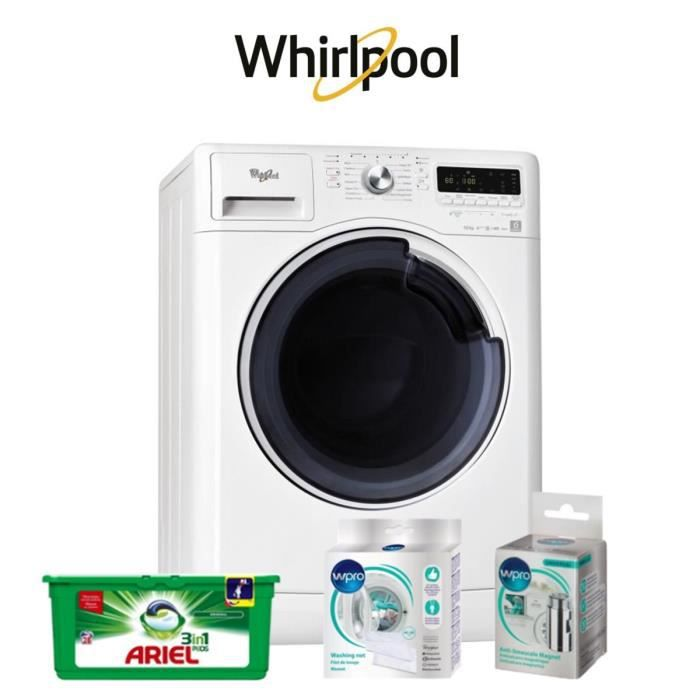 LOT LAVAGE-SÉCHAGE Pack tout inclus : Lave linge Whirlpool + Lessive