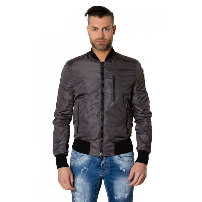 Tissu Couleur Bomber Homme Cuir Grise Style Blouson Inserts Gaudil BfWwqaSa