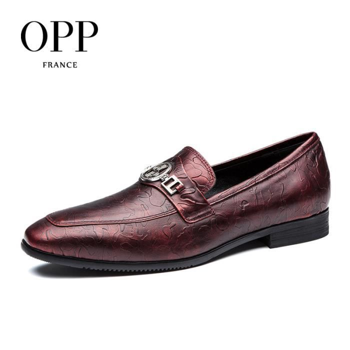 OPP Wingtip mocassin Perforated Toe rétro - PrintingZ0905-5rouge vin45 hMBr6aRT
