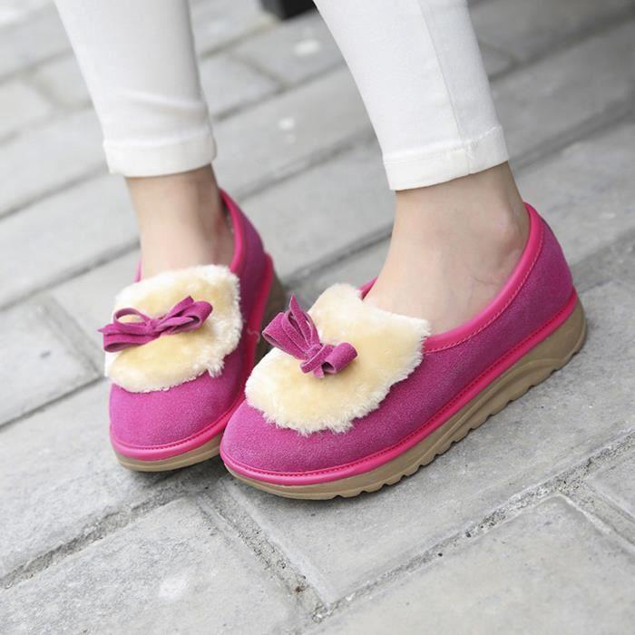 Femmes Chaud Appartements Chaussures Neige Femmes Automne Hiver Bowknot Chaussures BottesRose