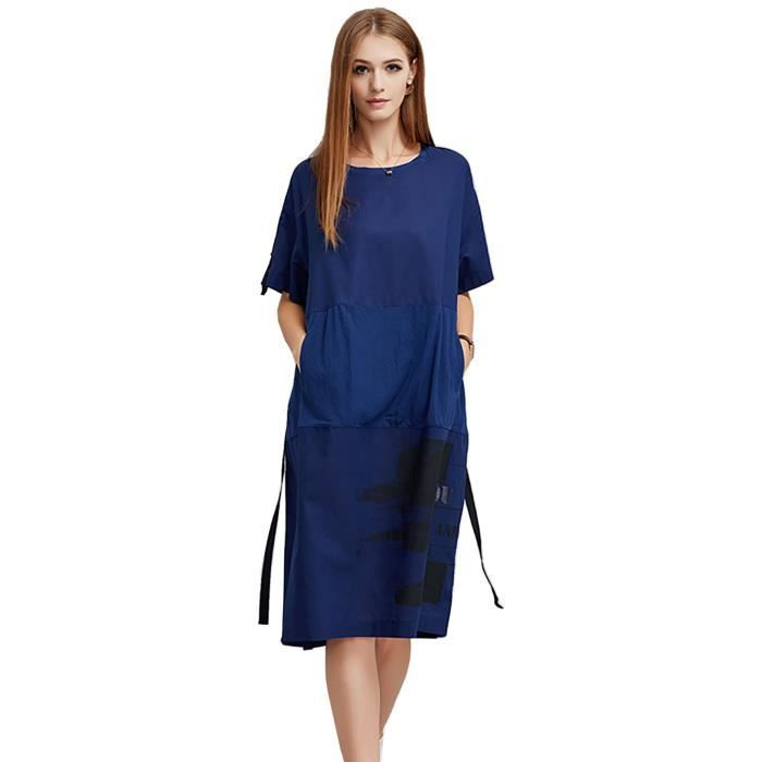 décontractée robe femmes à manches courtes grande taille coton nouvel été 2018 plus la taille bleu