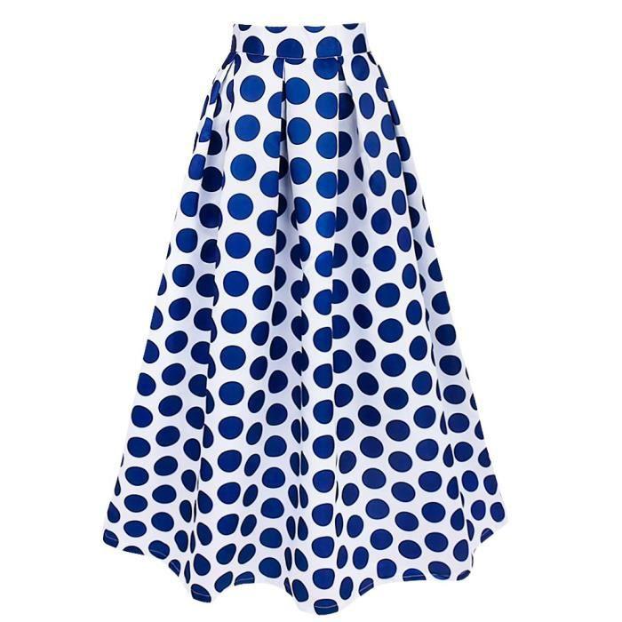 8c009032963013 Jupe à pois Longue Femme - taille haute Été Vintage Bleu plissée