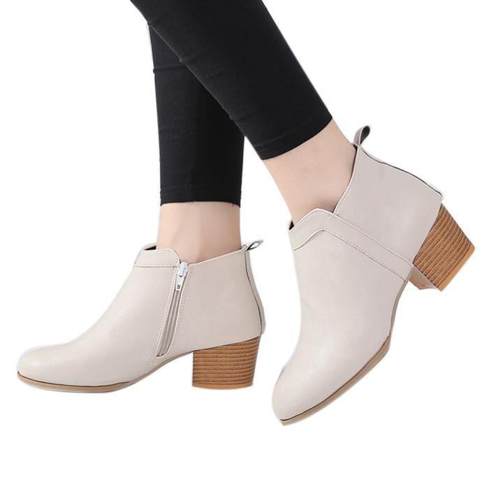Basilesmile Chaussures botte Talon Vintage Bottines épais courte Bottes Beige Mode femme bas cheville vY76ygbIf