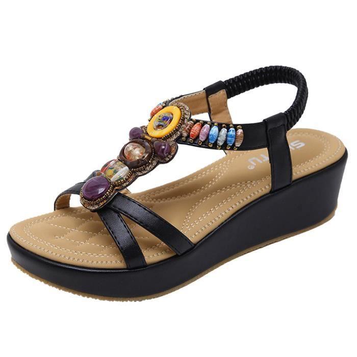 aa2be6ff305e48 SANDALE - NU-PIEDS Mode Sandales d'été Bohème Chaussures Wedges Fille