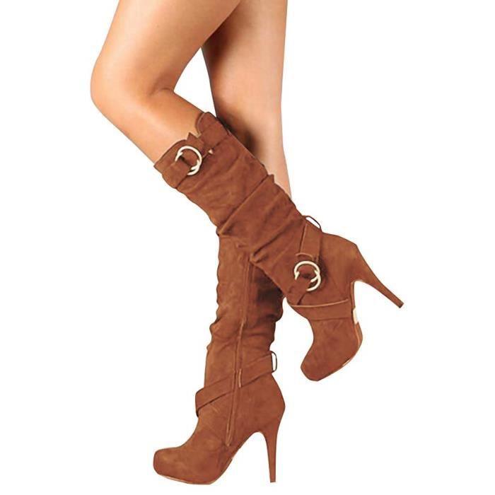 Casual De Automne Hiver Boots Sexy Daim Longues Mode Stiletto Bottes wkiTXOulPZ