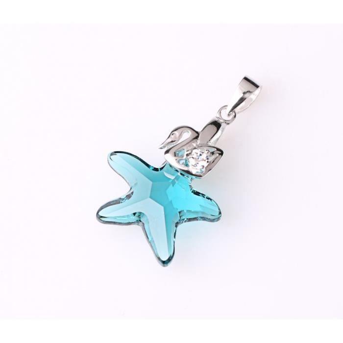 DEPOT TRESOR Collier plaqué or blanc avec pendentif forme étoile de la mer en Cristal SWAROVSKI ELEMENT - Turquoise