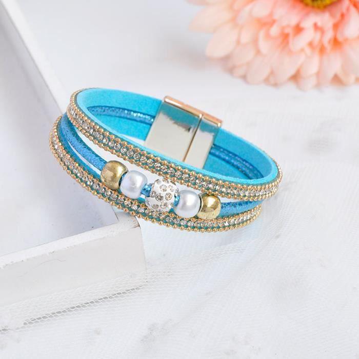 BRACELET DE MONTRE Fashion Unique Bracelet en cuir multicolore avec S