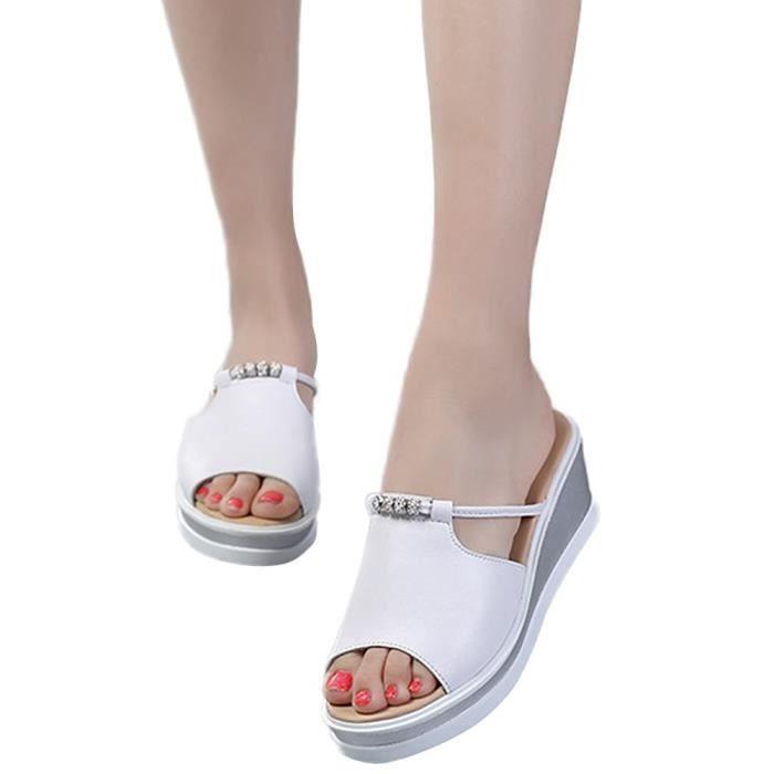 Claquettes Confortable Tongs Chaussures Compensées Fille Sandales Plage Minetom Femme Été Mules de twxXqcIR