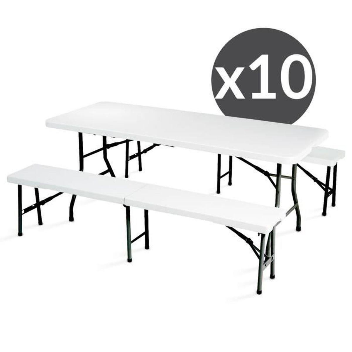 Table Et Bancs Pliants 8 Places 180 Cm Lot De 10 Achat Vente