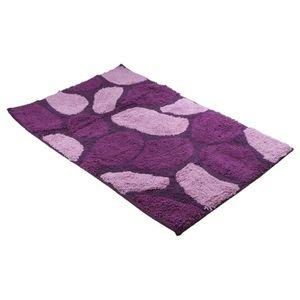 FRANDIS Tapis de bain - 100% coton - 50 x 80 cm - Galets violet