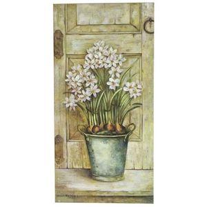 TABLEAU - TOILE Tableau Cadre en Bois Peint Fleur Mural 60x30 cm