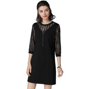 9fb4a7b3e0e Robe noire femmes demi-manches plus la taille élégante coton nouveau  printemps 2018 grande taille noir droite Noir Noir - Achat   Vente robe -  Cdiscount