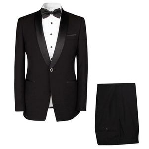 COSTUME - TAILLEUR Costume homme mariage noir Robe 2 Pièces smoking h ... 2eea2706ae0