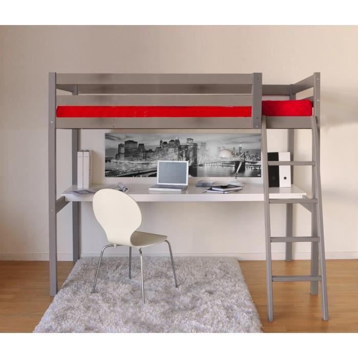 mezzanine adulte top lit combin avec bureau et rangement couchage xcm combal blancchne sans. Black Bedroom Furniture Sets. Home Design Ideas