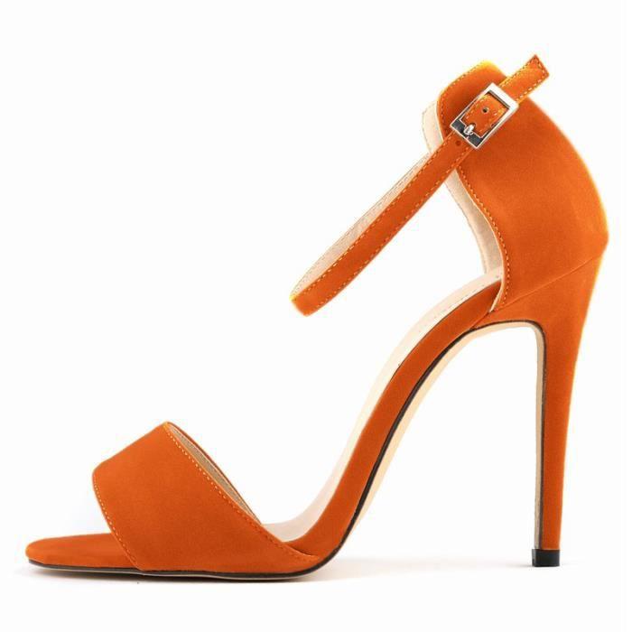 Nouvelle decontractee peep-toe pour Femme Sexy Stiletto Sandales a talons hauts en ete Oranges taille 39 PULzRlDa