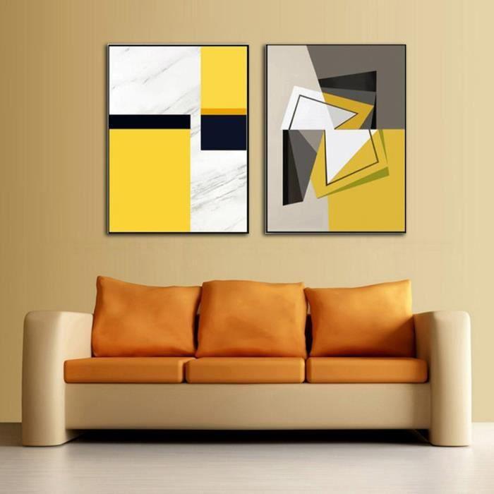 Abstrait Géométrique Jaune Gris Formes Photos 2 Pièces Mur Art Toile