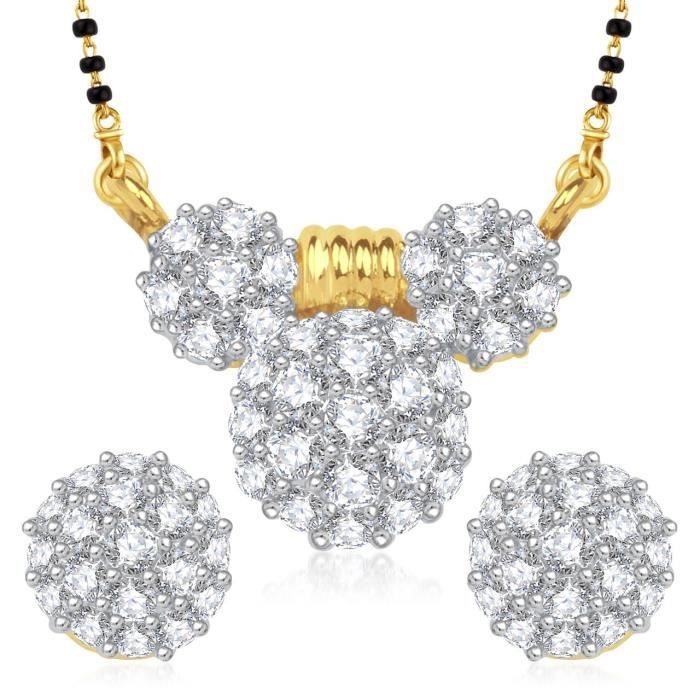 Womens galsutra Pendant Set With Earrings For Jewellery Set Gold Plated In Cz American Diamond Ms SG681