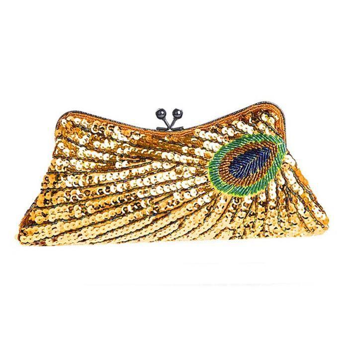 Sac à main femme perlé baiser verrouillage dembrayage sac à main Peacock Paillettes Sac dembrayage SJITV