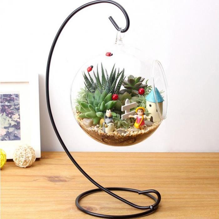 Hydroponique plante fleurs suspendus vase en verre for Mica decoration cloche