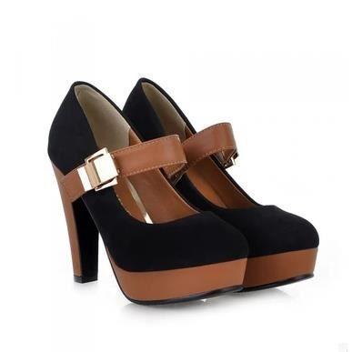 Chaussures blanches épaisses avec des talons hauts carrière chaussures basses chaussures, noir 36