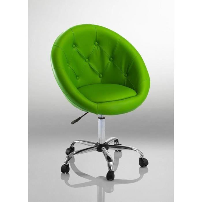 Fauteuil à roulette cuir PU tabouret chaise de bureau vert BUR09033 ... 8d6bdc3a7353