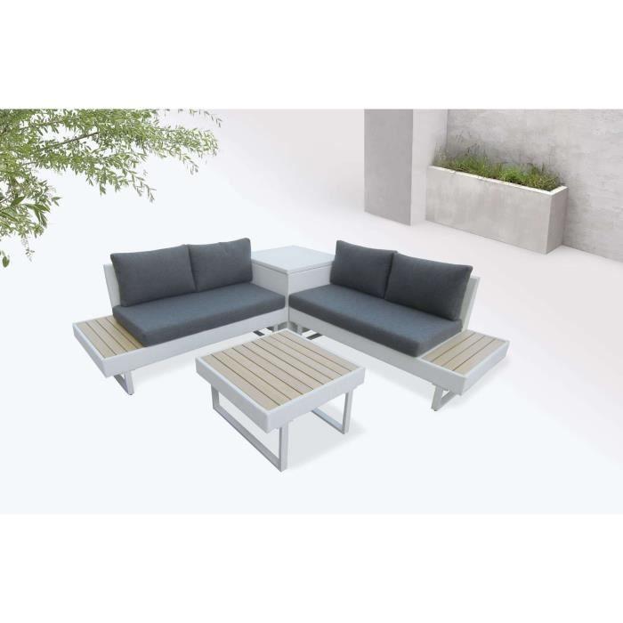 BOBOCHIC Palma - Salon de jardin en angle 5 places - Aluminium / Composite  - Coffre Couleur - Blanc / Gris